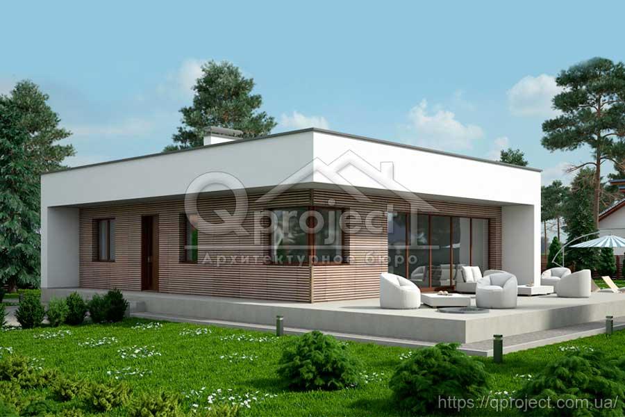Проект одноповерхового будинку з плоским дахом - Q10  98740bd812274