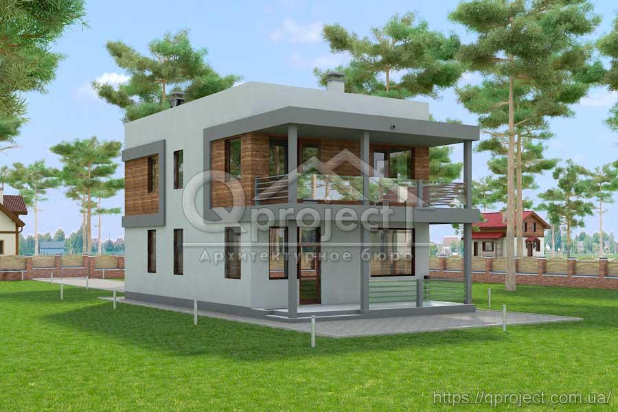 e23b815e9 Проект двоповерхового будинку в стилі хай-тек - Q3 | Qproject
